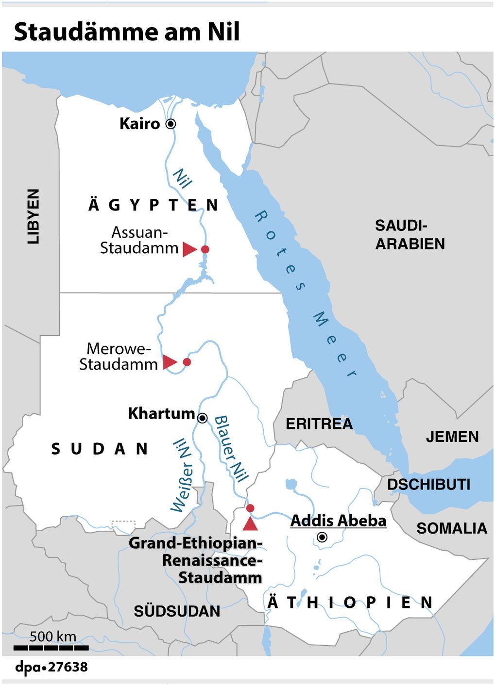 Der Neubau des Grand-Ethiopian-Renaissance-Staudamms könnte große Auswirkungen auf dieWassermenge des Blauen Nils und des Nils haben. Die drei Anrein