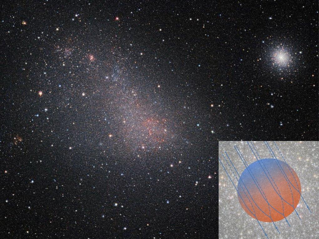 Hingucker am Südhimmel: Der Kugelsternhaufen 47 Tucanae (oben rechts) und die Kleine Magellansche Wolke auf einen Blick. Rechts unten eine Vergrößerun