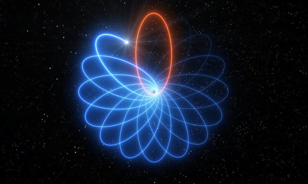 Rosette im All: Beobachtungen haben zum ersten Mal gezeigt, dass sich ein Stern, der das supermassereiche schwarze Loch im Zentrum der Milchstraße umk
