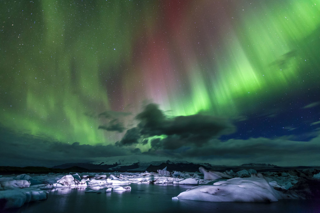 Aurora Borealis über Jokulsarlon Lagune in Island.