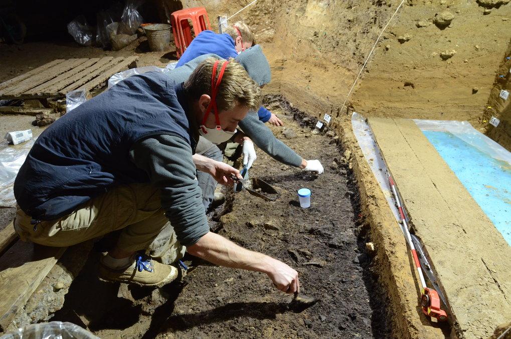 Ausgrabungsarbeiten in der IUP-Schicht I in der Bacho-Kiro-Höhle