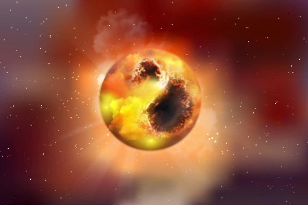 Roter Überriese: Die künsterlische Darstellung zeigt Beteigeuze, dessen Oberfläche von großen Sternflecken bedeckt ist, die seine Helligkeit verminder