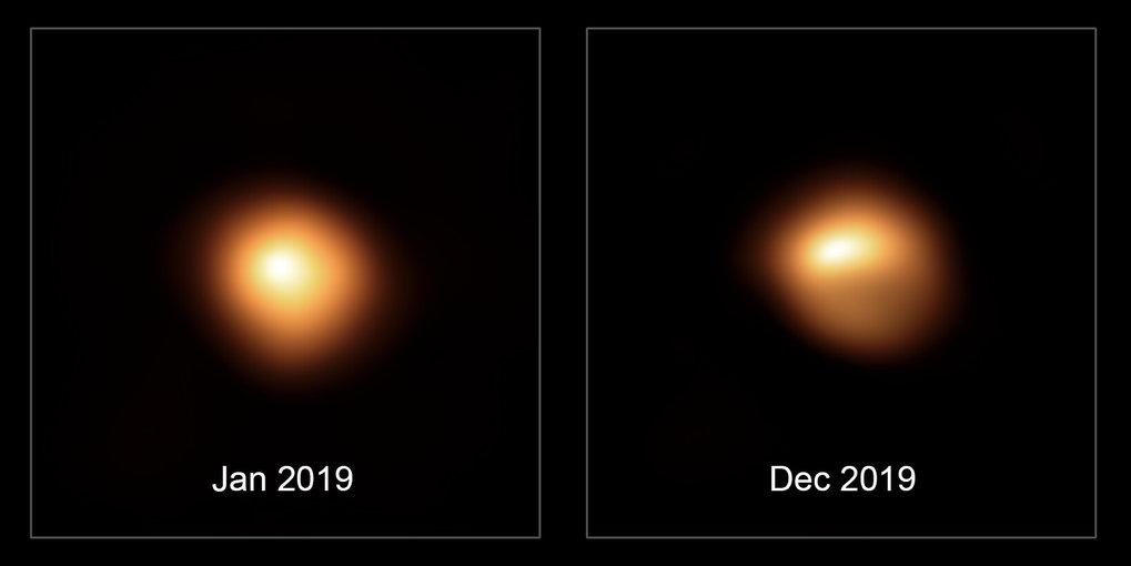 Mal hell, mal dunkel: Diese hochauflösenden Bilder von Beteigeuze zeigen die Helligkeitsverteilung im sichtbaren Licht auf seiner Oberfläche vor und w