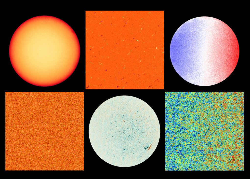 Aufnahmen des Polarimetric and Helioseismic Imager (PHI). Die linke Spalte zeigt die Sonne im sichtbaren Licht. Oben: Diese Aufnahme entstand am 18. J