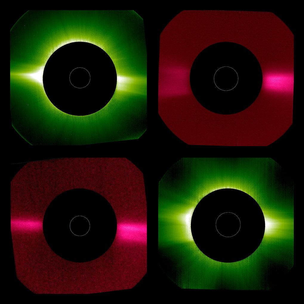 Aufnahmen des Koronografen Metis vom 15. Mai 2020 (linke Spalte) und vom 21. Juni 2020 (rechte Spalte). Die grün gefärbten Bilder zeigen die Korona im