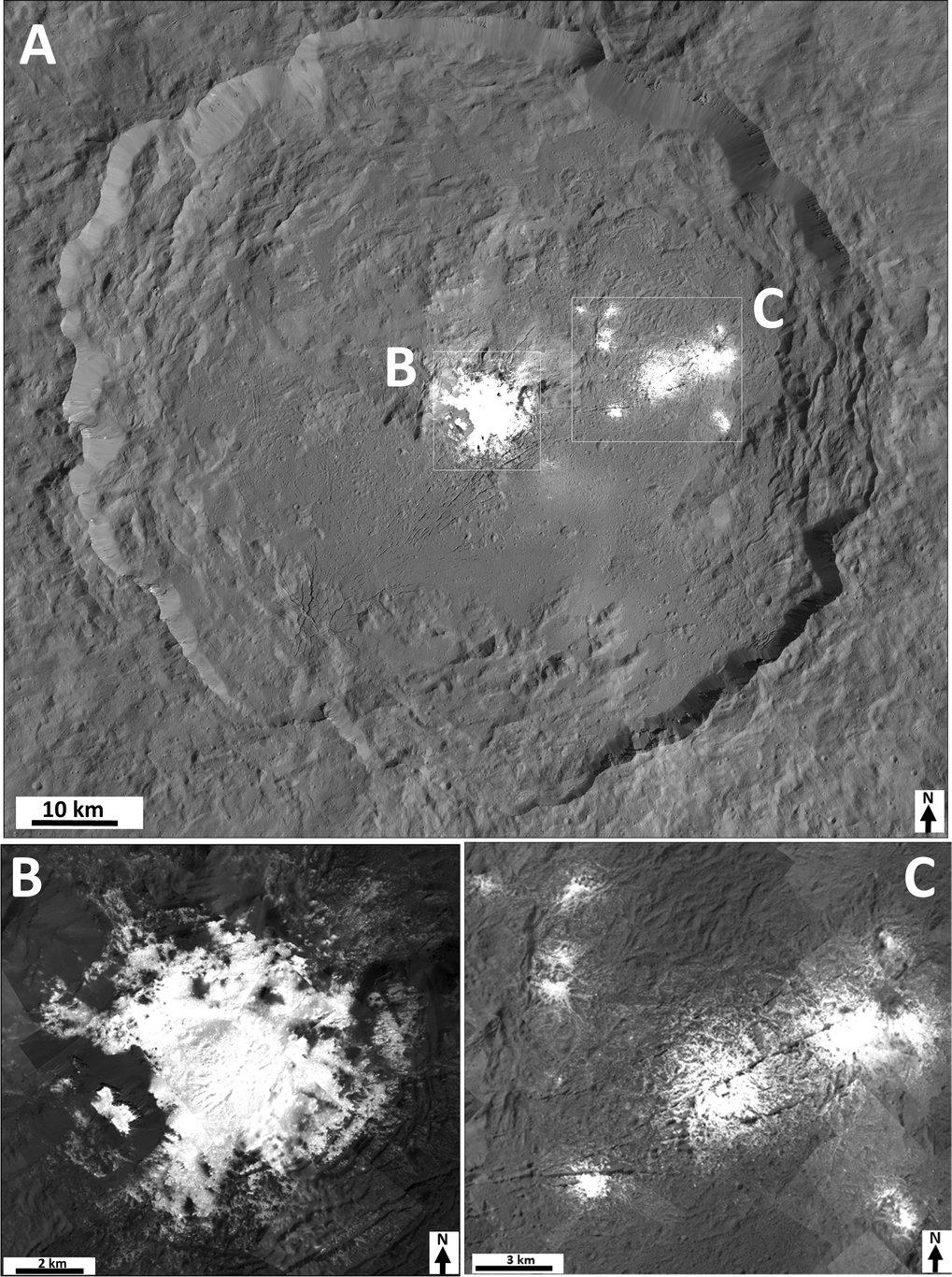 Diese Bildmosaike des Occator-Kraters wurden zusammengesetzt aus vielen Einzelbildern der Dawn Framing Camera, die aus einer Entfernung von 35 Kilomet