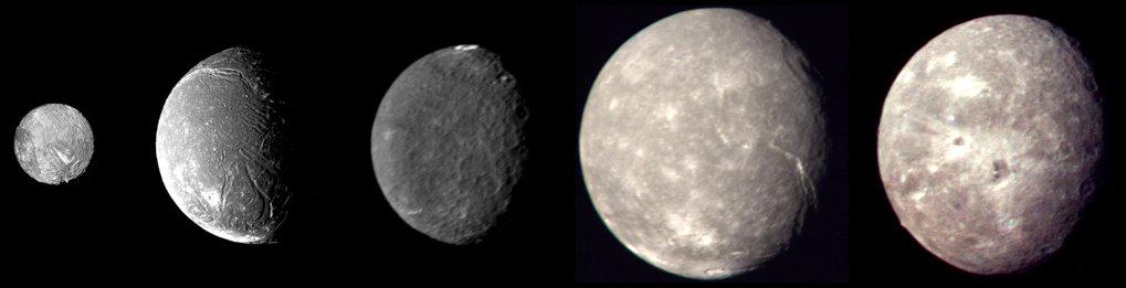 Aufnahmen der fünf größten Uranusmonde Miranda, Ariel, Umbriel, Titania und Oberon. Die Raumsonde Voyager 2 schoss die Bilder am 24. Januar 1986 währe