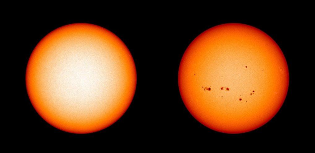 Wechselspiel: Im Aktivitätsminimum (links) wie hier im Dezember 2019 zeigt sich kein Sonnenfleck auf der sichtbaren Oberfläche der Sonne. Im vergangen