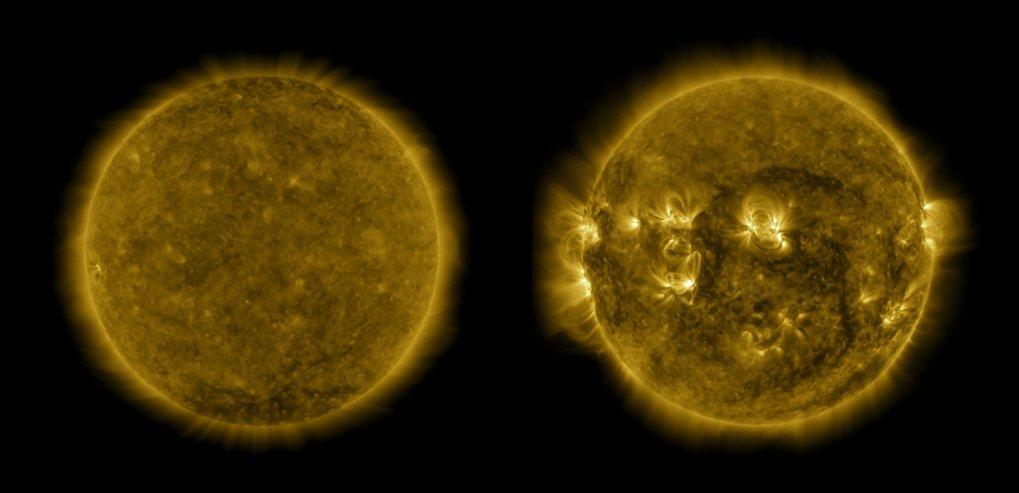 Ruhig und feurig: Wie in diesen UV-Aufnahmen zu sehen ist, zeigt sich die Atmosphäre der Sonne im Aktivitätsminimum (links, Dezember 2019) von ihrer e