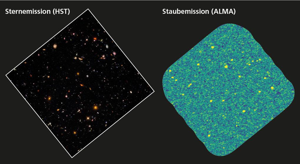 Tiefe Einsichten: Das Hubble Ultra-Deep Field (UDF, links) ist eine der am besten untersuchten Himmelsregionen. Mit dem Weltraumteleskop Hubble haben
