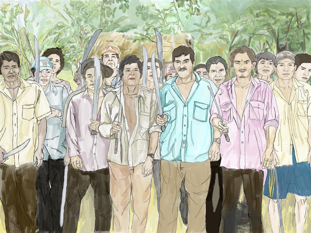 Illustration von männlichen Mitgliedern der bolivianischen Tsimané. In ihrer Studie beschreiben die Forscher, welche Konflikte zwischen Männern entste