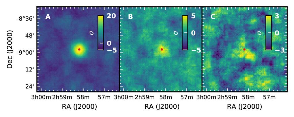Verblassendes Leuchten: Die H.E.S.S.-Himmelskarten von GRB190829A zeigen das Abklingen des Nachglühens über die drei Beobachtungsnächte (Teilbilder A,