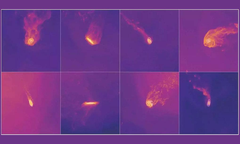 Acht Beispiele für Quallen-Galaxien. Solche Bilder werden den Teilnehmer*innen des neuen Zooniverse-Projekts zur Klassifikation vorgelegt.