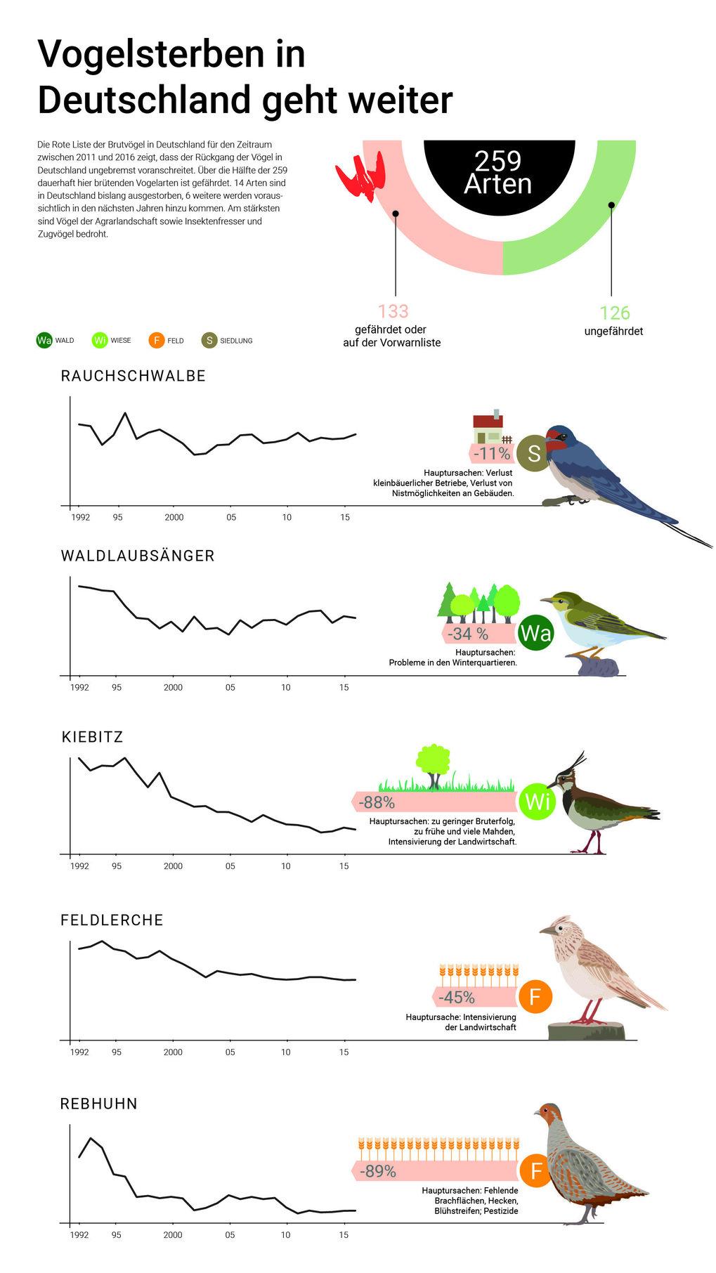 Bestandsentwicklung einiger ausgewählter Brutvogelarten in Deutschland.