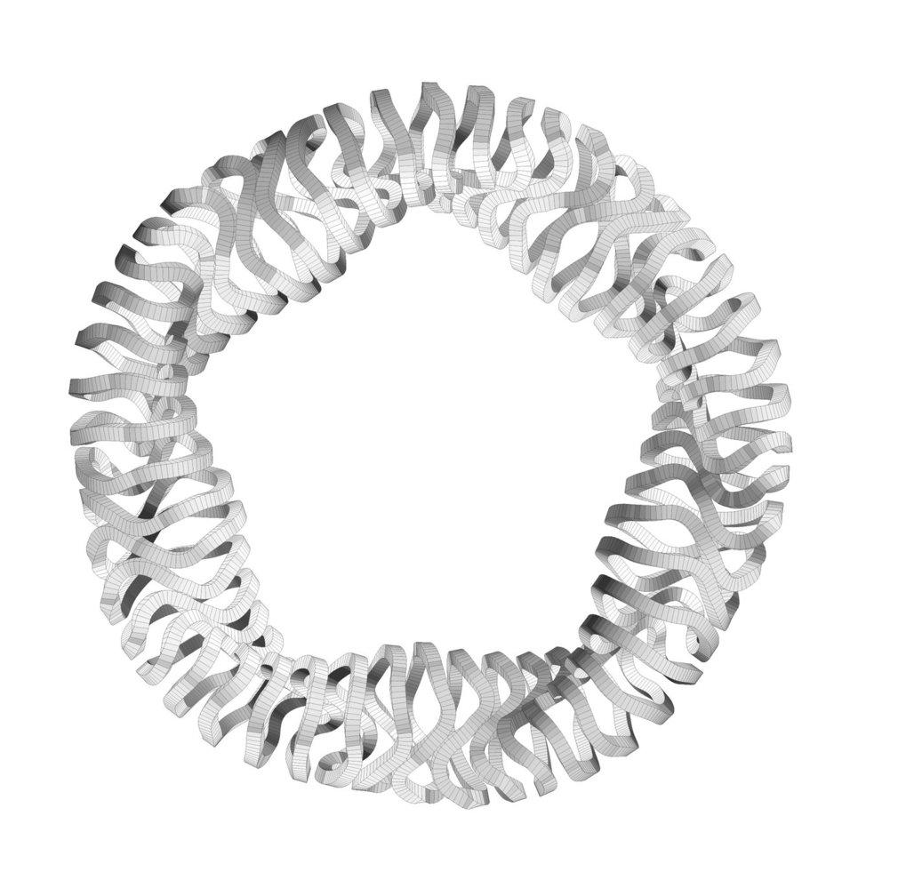 Das Magnet-System von Wendelstein 7-X: 50 supraleitende Magnetspulen erzeugen den magnetischen Käfig zum Einschluss des Plasmas. Die gewundenen Spulen