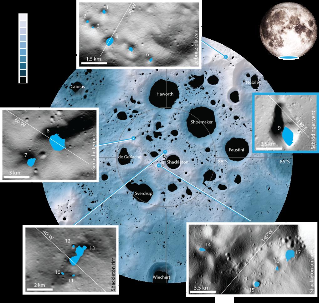 Die 17 neu untersuchten Krater und Senken befinden sich in der Nähe des Südpols. Während das kleinste dieser Gebiete (Gebiet 11) eine Fläche von nur 0
