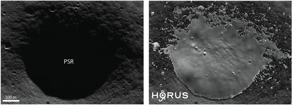 Ein unbenannter Krater in der Südpolarregion des Mondes. Er liegt auf dem Leibnitz Plateau, in direkter Nähe zu der anvisierten Landeregion des Volati
