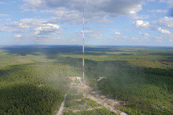 The Zotino Tall Tower in the Siberian taiga forest is 300 m tall. It measures regional atmospheric greenhouse gases, reactive chemistry, aerosols and meterology.