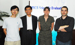The four Max Planck Research Group Leaders at the evaluation of the Institute in 2009 (from left to right): Yan Jun, Zhu Xinguang, Frauke Gräter and Philipp Khaitovich