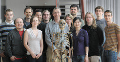 Cracking the Neanderthal code. Front row, from left:  Hernán Burbano, Anja Buchholz, Svante Pääbo, Janet Kelso, Qiaomei Fu and  Martin Kircher; back row from left: Adrian Briggs, Jesse Dabney,  Matthias Meyer, Tomislav Maricic, Johannes Krause, Udo Stenzel and Kay  Prüfer.