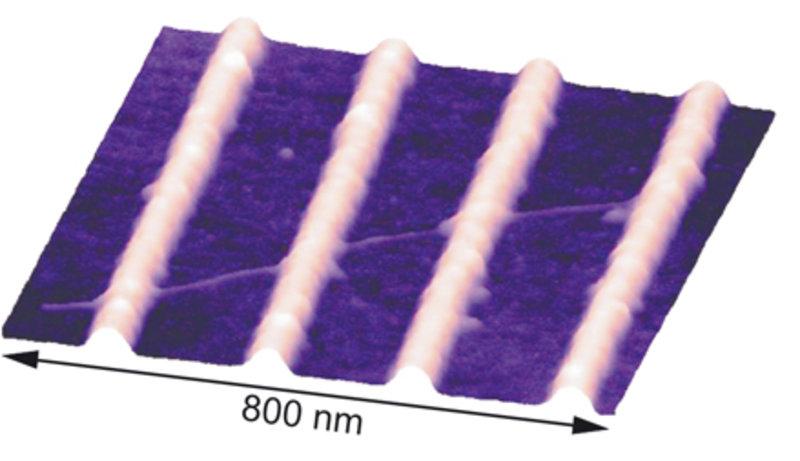Rasterkraftmikroskop-Aufnahme einer einwandigen Nanoröhre, welche an einen Siliziumchip adsorbiert wurde.
