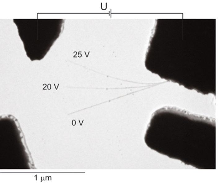 Aufnahme einer freistehenden, mehrwandigen Nanoröhre mit dem Transmissionselektronen-Mikroskop zwischen verschiedenen Elektroden und Hilfselektroden.