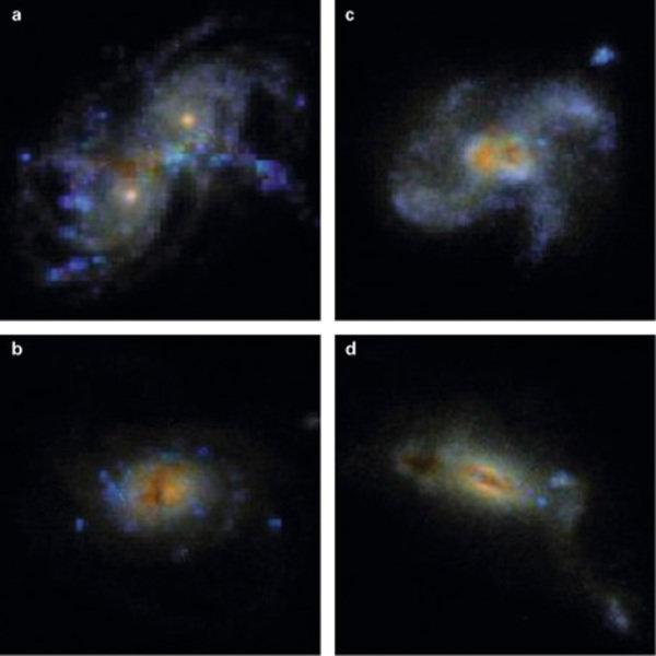Simulierte Bilder von zwei verschmelzenden Sbc (scheibenförmigen)-Galaxien bei den Zeitschritten a) 0.6, b) 1.6, c) 1.7 und d) 2 Milliarden Jahre.