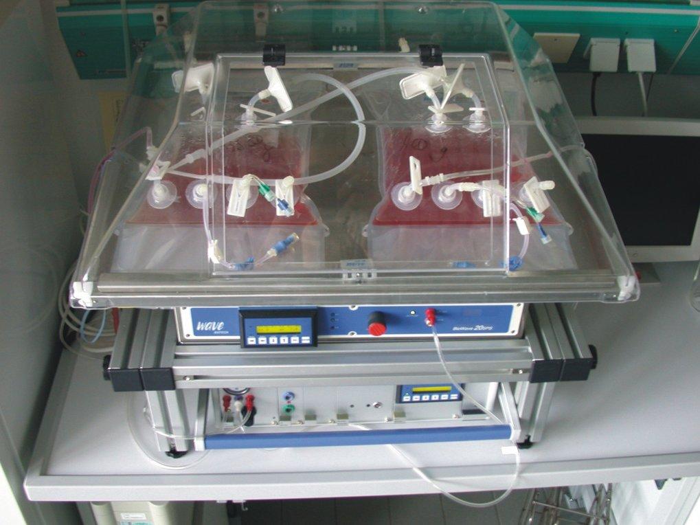 <i>Einweg-Bioreaktor der Firma Wave Biotech mit 2 Kultivierungsbeuteln (je 1 L Arbeitsvolumen): Die Metallschale ist temperierbar und bewegt sich vor