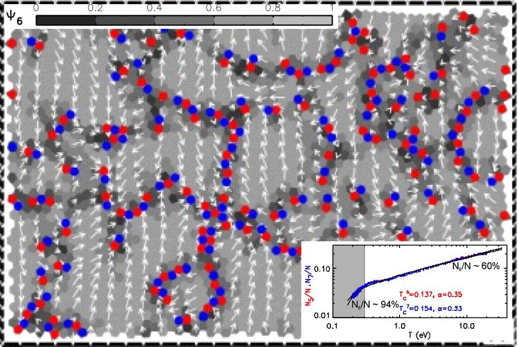 """Farbkodierte Karte eines Komplexen Plasmas während des Übergangs """"flüssig-kristallin"""". Die Grauschattierung zeigt die lokale Orientierungsordnung an ("""