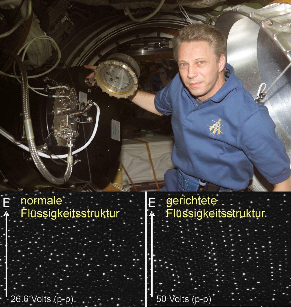 Thomas Reiter bei seinen Experimenten mit Komplexen Plasmen unter Schwerelosigkeit. Im ersten Teilbild (links) sieht man die typische ungeordnete Stru