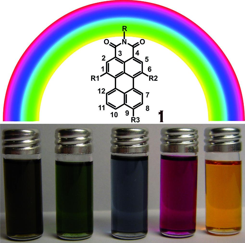 Regenbogenfarben von Perylenderivaten.