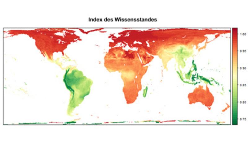 """Weltkarte des """"Vogel-Wissens"""": Globale Unterschiede im Wissensstand über Vogelarten in Prozent (zugrunde gelegt wurden die Parameter Sexualdimorphismu"""