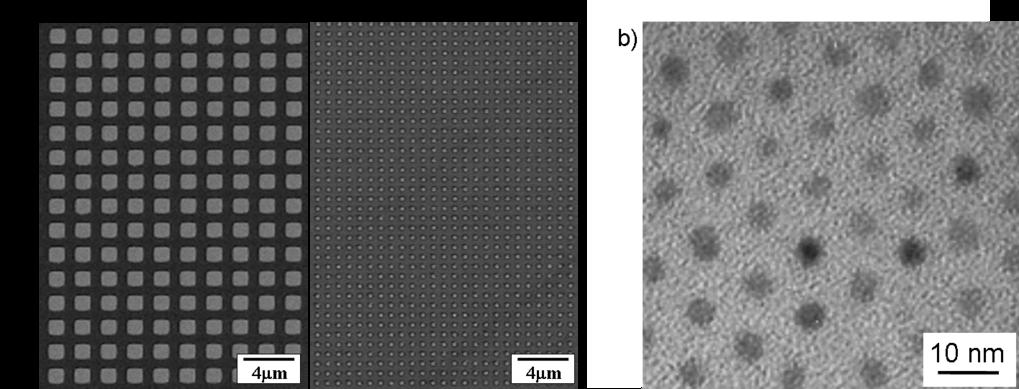 Periodische Anordnung von ferromagnetischen L1<sub>0</sub>-FePt-Teilchen hergestellt mittels (a) Elektronenstrahllithographie (Kantenlänge 1 µm bzw. 1