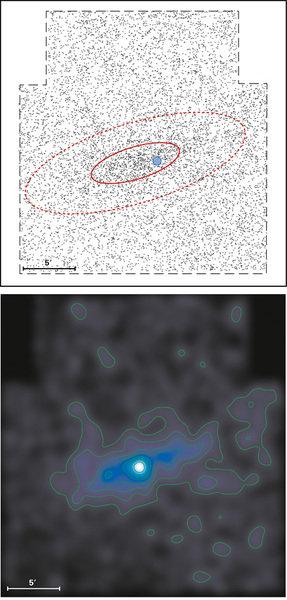 Die Konturdarstellung der Sterndichte in der Herkules-Zwerggalaxie offenbart deren langgestreckte Form.