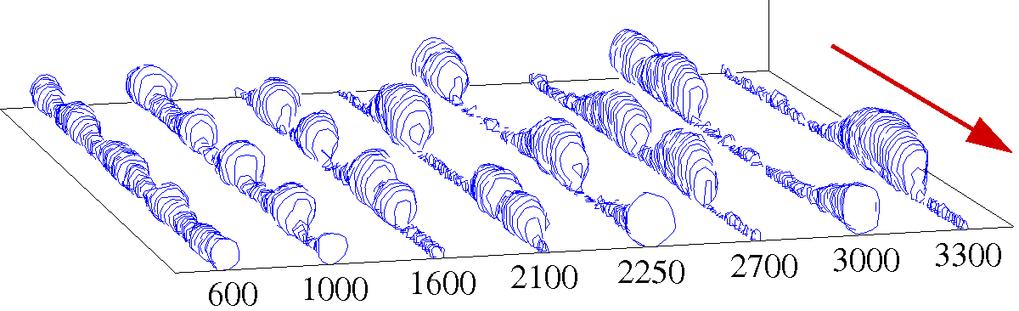 Molekulardynamik-Simulation einer Flüssigkeit kurzkettiger Polymere (siehe Abb. 3), die in Richtung des roten Pfeils durch einen chemischen Kanal von
