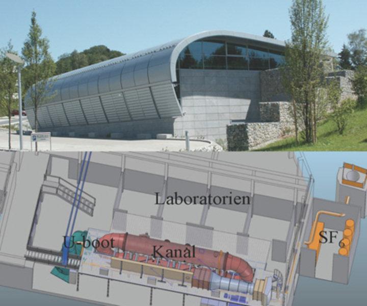 A: Experimentierhalle; B: Schematische Darstellung des Aufbaus.
