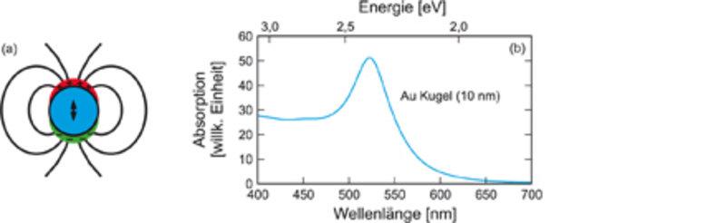 (a) Die Leitungselektronen eines Metallpartikels führen eine kollektive Schwingung im elektrischen Feld aus, die Plasmon-Oszillation. (b) Diese führt