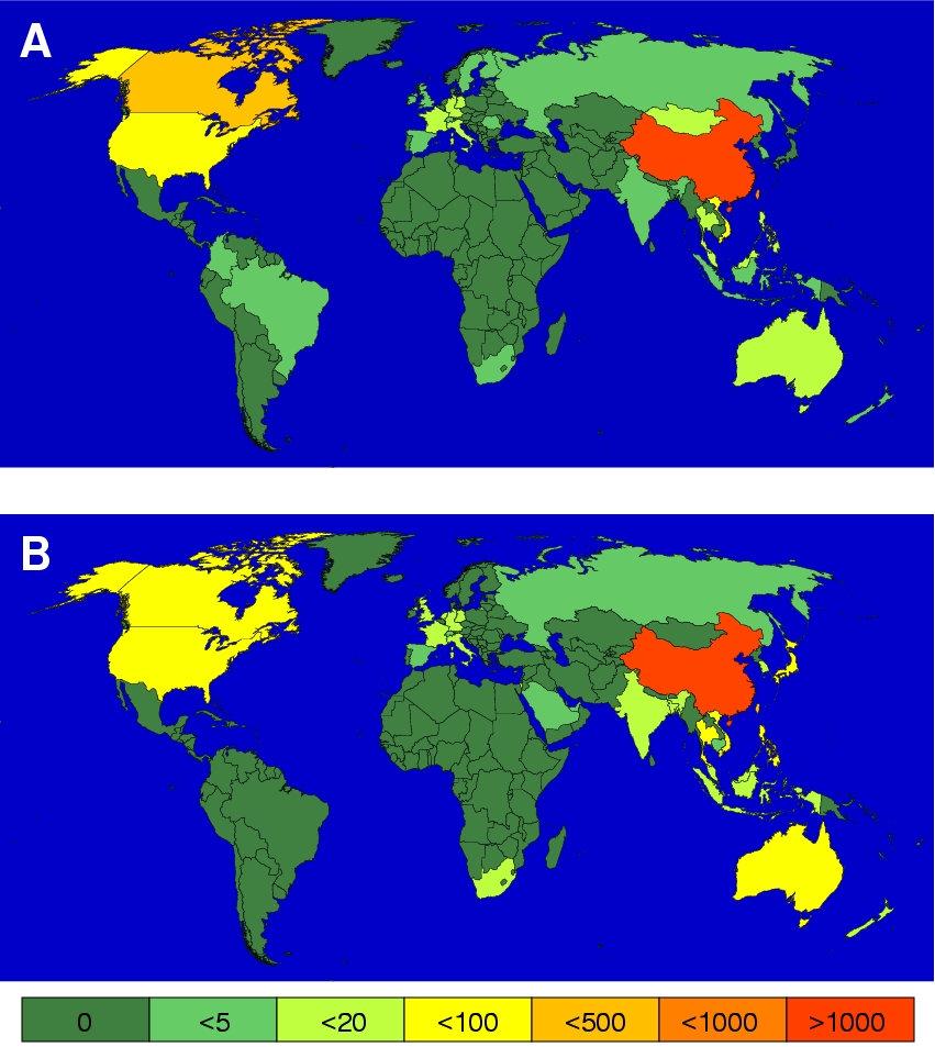A: Geographische Darstellung der globalen Ausbreitung von SARS am 30. Mai 2003 basierend auf den Daten der WHO (World Health Organisation) und CDC (Ce