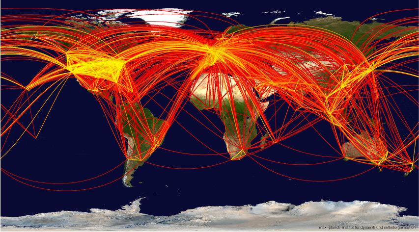 Der weltweit zivile Flugverkehr zwischen den 500 größten Flughäfen in über 100 Ländern. Farbkodiert ist die Anzahl von Fluggästen pro Woche, die zwisc