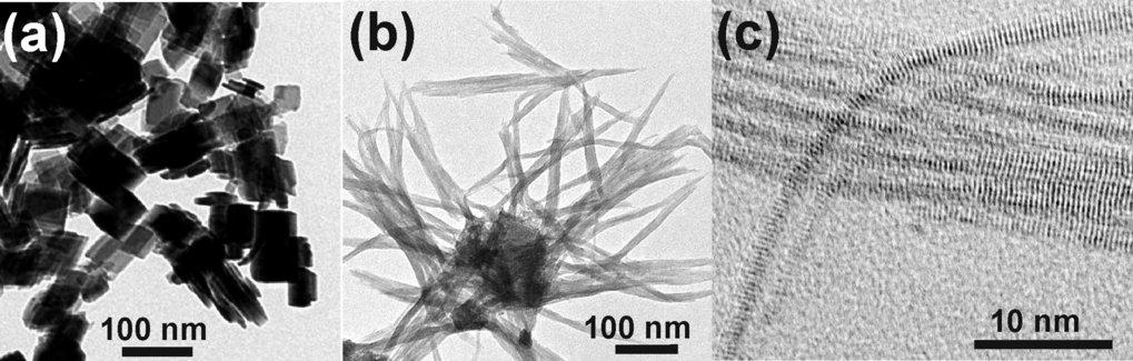 TEM-Aufnahmen von a) Wolframoxid-Nanoplättchen, b) Wolframoxid-Nanodrahtbündel, c) Wolframoxid-Nanodrähte.