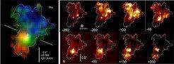 Links: Wasserstoff-(H<sub>α</sub>)-Emission der Galaxie BzK-15504 im frühen Universum vor etwa elf Milliarden Jahren. Die Farben zeigen, ob sich das i