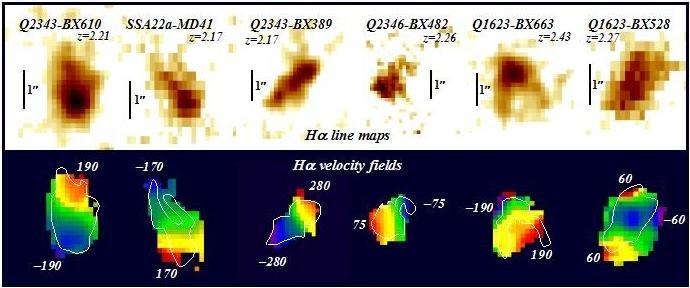 Die Bilder zeigen die räumliche Verteilung (obere Reihe) und Bewegung (untere Reihe) des ionisierten Gases in sechs großen, sternbildenden Galaxien,