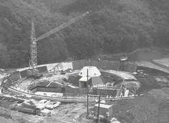 The foundations for the 100-meter radio telescope in the construction phase (1968).