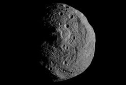 This image of the asteroid Vesta was taken on July 15 shortly after the Dawn spacecraft swung into orbit around the asteroid.