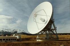 The 25-metre radio telescope of the Urumqi Astronomical Observatory of the Chinese Academy of Sciences (CAS).