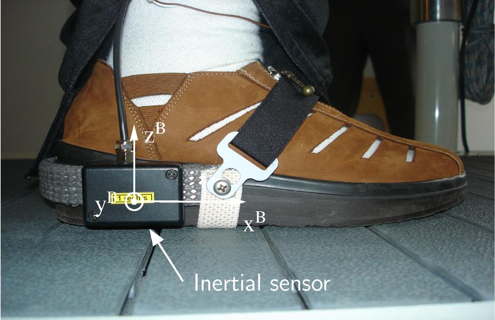 Inertialsensor zur Regelung eines Fallfußstimulators am Schuh eines Patienten.