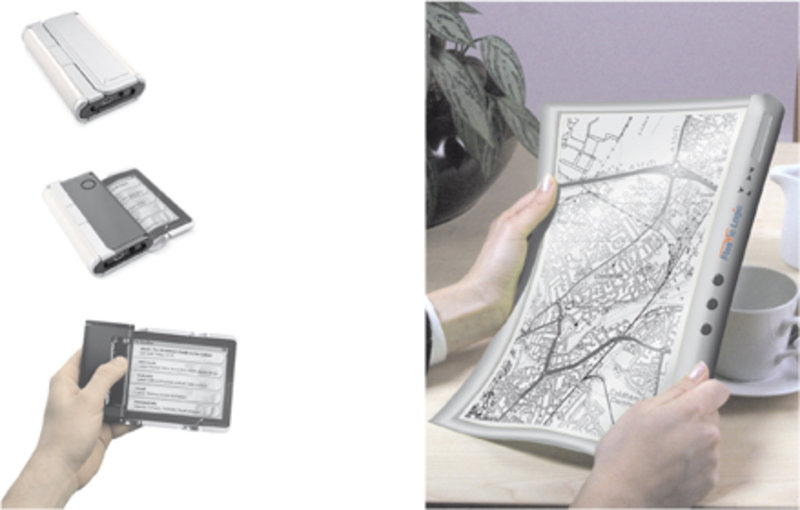 Der Readius von Polymer Vision (links) und der eReader von Plastic Logic (rechts).