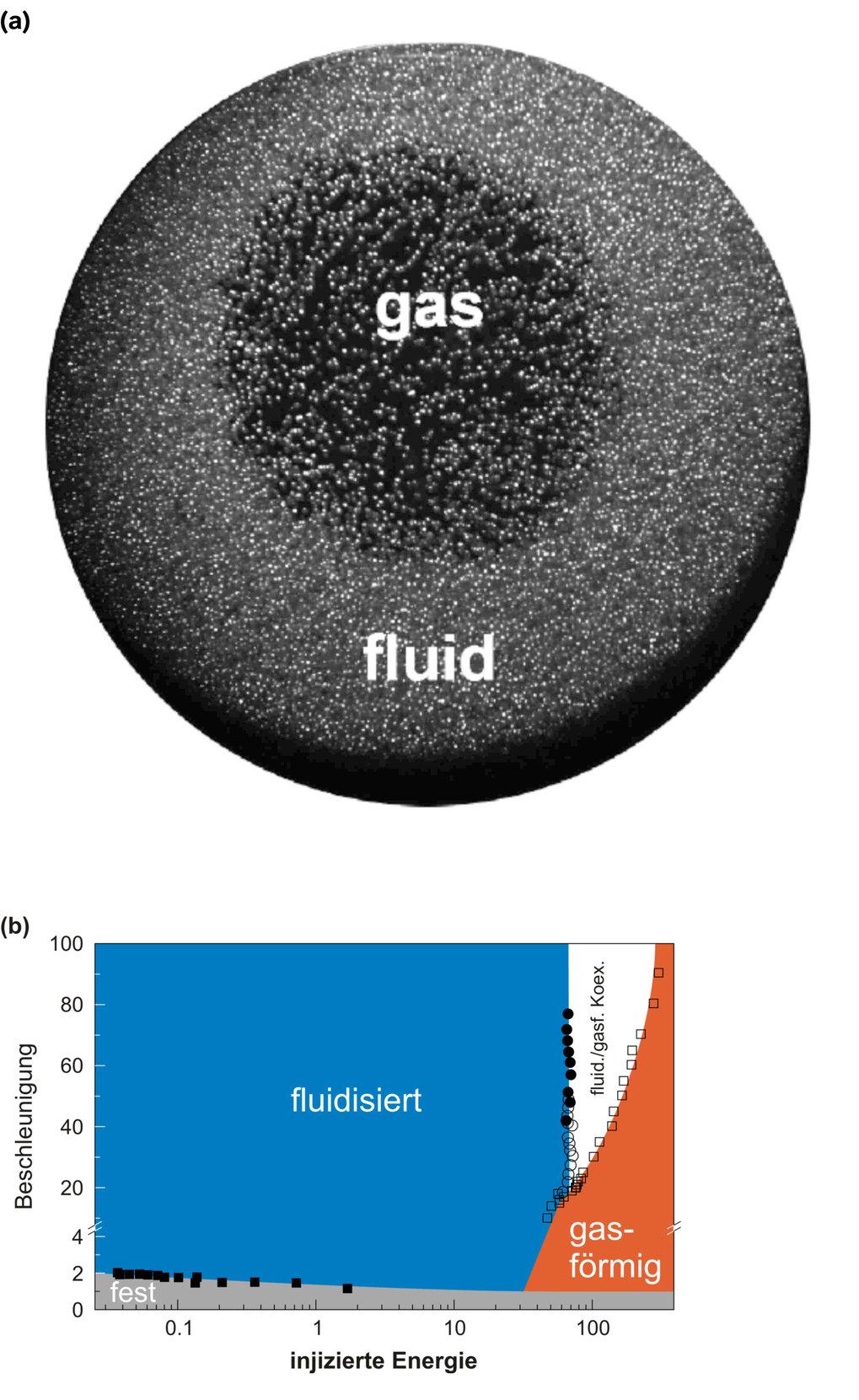 (a) Blick in eine Petrischale voller Glaskugeln, die vertikal vibriert wird. Die Glaskugeln wurden vorher mit Wasser befeuchtet. Man sieht deutlich di