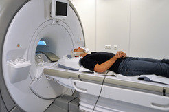 Patient in a functional magnetic resonance imaging machine.