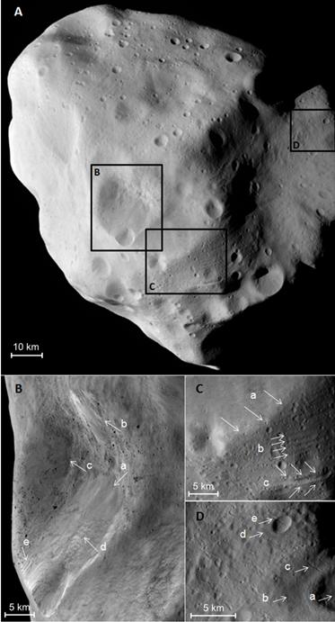 Einer überdimensionalen Kartoffel gleicht der Asteroid Lutetia auf dem Bild A, das Rosetta während des Vorbeiflugs im Juli 2010 gewonnen hatte. Die Au